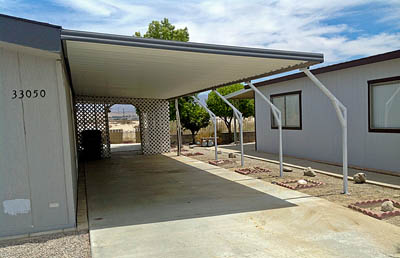 Mobile Home Awning with offset posts by Aladdin Patios
