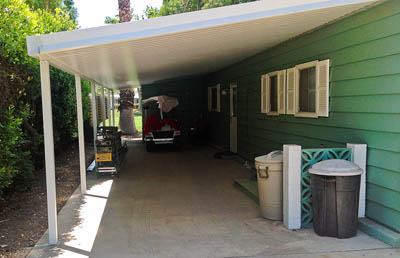 Mobile Home Awning with flat panel top by Aladdin Patios